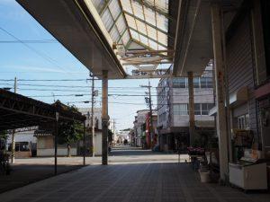 伊勢高柳商店街のアーケード下からかすかに望む須原大社の社叢