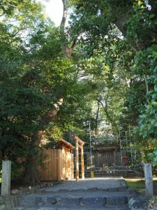 仮殿御遷座を終え大修繕が開始された河原淵神社(豊受大神宮 摂社)