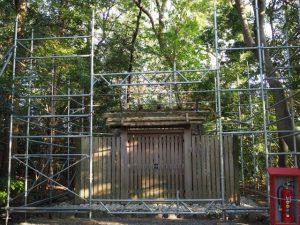 大修繕が開始された河原淵神社(豊受大神宮 摂社)