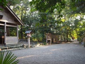 船江上社から望む河原淵神社(豊受大神宮 摂社)方向