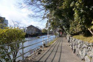 河原淵神社および船江上社の前に広がる朧ヶ池(伊勢市船江)