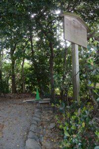 工事用パイロン等が置かれていた河原神社(豊受大神宮 摂社)