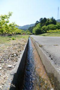 泉貢池からの水が勢い良く流れる用水路(度会郡玉城町積良)