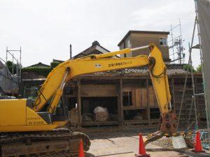 土蔵が解体されていた井阪長七商店(伊勢市河崎)