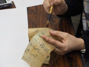 低温アイロンによる簡易的な古文書修復実習@ハートピア京都