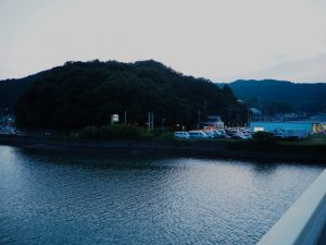 加茂川に架かる安楽島大橋から望む赤崎神社(豊受大神宮 末社)の社叢