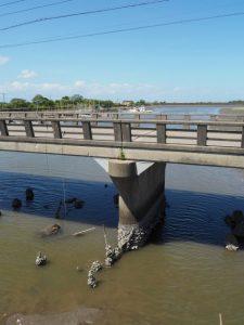 側道橋から望む八木戸橋と笹笛川の下流方向