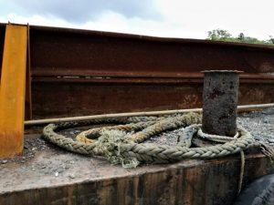 勢田川左岸に係留されていた台船上のアナコンダ(2018年09月05日時点)