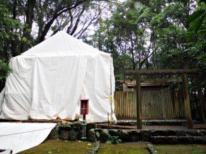 簀屋根が建てられた宇治山田神社(皇大神宮 摂社)