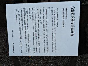 左衛門太郎六字名号碑の説明板(中村墓地)