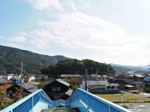 中村歩道橋から望む興玉森、宇治山田神社の社叢(伊勢市中村町)