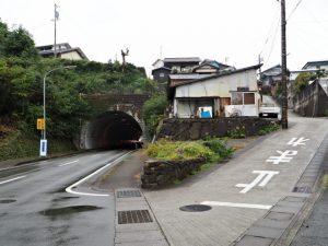 天神丘への急な坂道への分岐(伊勢市浦口)