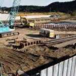 P1橋脚の工事現場、新しい御側橋(五十鈴川)