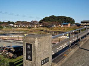 五十鈴川に架かる御側橋から望む宇治山田神社(皇大神宮 摂社)の社叢