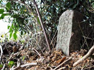 隠れるように立っている道標、奈良波良神社(皇大神宮 摂社)付近