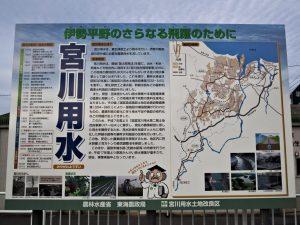 宮川用水の説明板(度会郡玉城町勝田)