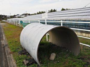 宮川用水として埋められているφ1350mmのFRPM管(度会郡玉城町勝田)