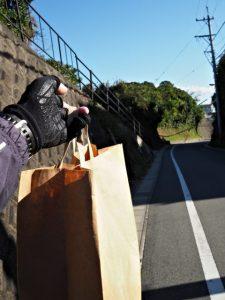 安楽島フードセンターからの預かり物と携えて伊射波神社へ