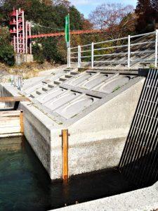 立梅用水の井堰(取水堰)付近から望む茶倉橋(櫛田川)