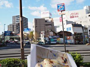 古絵図の写しと八事交差点(飯田街道)