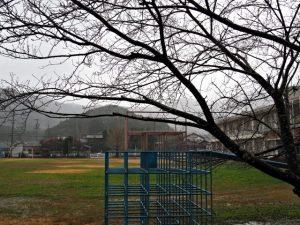 旧一之瀬小学校体育館付近から望む一之瀬城(西の城跡)