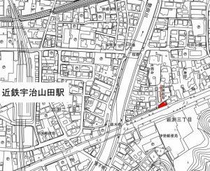 ネットで見つけた岩鷹稲荷を示す地図(一部を引用)