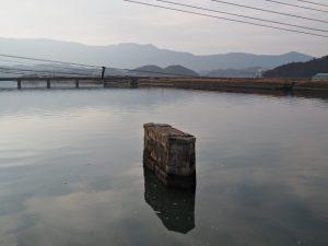 五十鈴川に架かる汐合橋から遠望した朝熊神社方向
