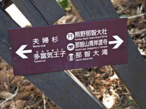 「←夫婦杉・・、熊野那智大社→」の案内板