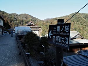 「←那智大滝・三重ノ塔→」の案内板
