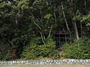 朝熊神社(皇大神宮 摂社)に残されている仮設の作業台