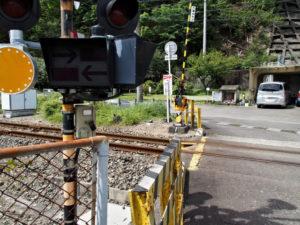 国道42号から赤羽踏切越しに眺める加田石仏道標