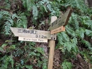 三浦峠頂上への道標(熊ヶ谷道)