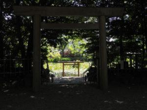 拝殿前から望む朧ヶ池、船江上社(伊勢市船江)