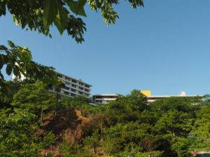 粟皇子神社(皇大神宮 摂社)付近から見上げた旅荘 海の蝶と月