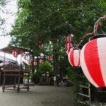 例大祭に向けて組まれていた民謡踊りの櫓、坂社(伊勢市八日市場町)