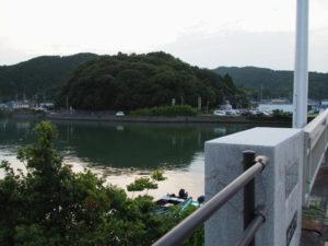 安楽島大橋から加茂川越しに眺む赤崎神社(豊受大神宮 末社)の社叢