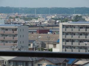 三重県津庁舎の6階から遠望した江戸橋(志登茂川)