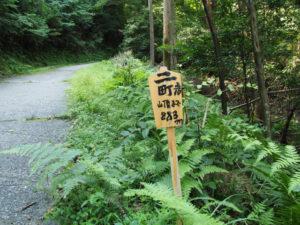 的山公園へのコンクリート舗装道、二町 山頂まで883mの案内板
