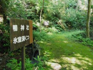 「鴨神社 氷室洞くつ」の案内板