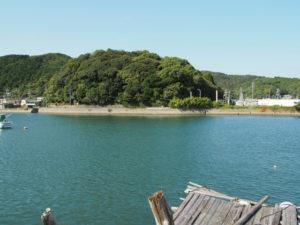 加茂川越しに望む赤崎神社(豊受大神宮 末社)の社叢