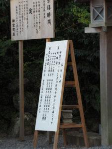 北御門口に設置されている神宮行事による参拝停止のお知らせ(外宮)