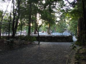 「即位礼及び大嘗祭後神宮に親謁の儀」に向けて設営される雨儀廊(外宮)