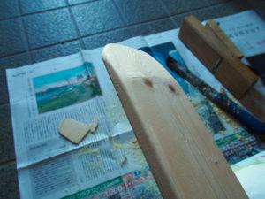スリッパ形の布ぞうりを作るための木型づくり