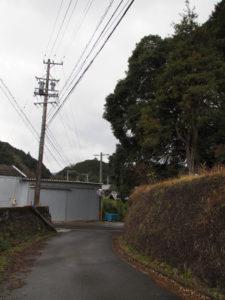 長野川に架かる新開橋へ(津市美里町三郷)