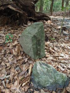 「寒中御見舞」札が貼られた跡亜残る石、北御門参道脇(外宮)