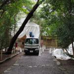 殿舎の屋根工事を終え足場が外される高河原神社(豊受大神宮 摂社)