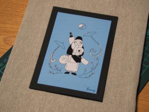 シャンティーさんのポストカードの壁掛け展示