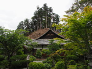 裏山が伐採された丹生山神宮寺(多気町丹生)