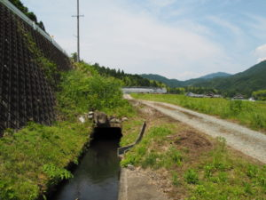 ここから再び県道421号に沿って流れる津田[土地改良区の]用水(多気町牧)