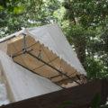 修繕工事のために簀屋根が掛けられた棒原神社(皇大神宮 摂社)